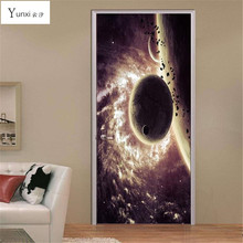 YunXi 2017 New 3D Door Stickers Space Planet Stickers Living Room Bedroom Wall Decorative PVC Waterproof Wall Stickers