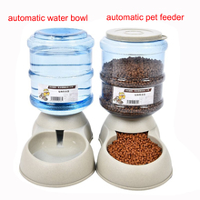 3.5L Large Automatic Pet Feeder Drinking Fountain For Cats Dogs Environmental Plastic Dog Food Bowl Pets Water Dispenser(China)