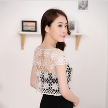 fashion hand made Women's Short Sleeve Crochet Shrug Lace Hollow Out Many colors Tassel Sweater Cape Cardigan Shurg w128(China)