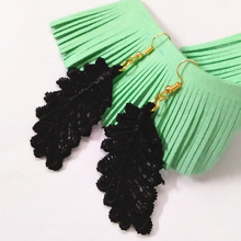 12 pair New Style Black Leaves Lace Earrings  Handmade  Earrings 3D Personality Black Lace Hollowed-out Tassel Earrings
