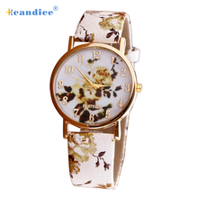 Splendid Hot Drop Shipping Reloj Mujer Flower Patterns Leather Band Analog Quartz  Wrist Watches