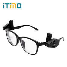iTimo 2pcs LED Eyeglass Night Light Clip-On Book Reading Lights Button Cell Battery Adjustable UV Cash Checking Tools Lighting (China)