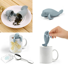 Manatee Shape Tea Infuser Pure Soft Silicone Rubber Loose Tea Leaf Strainer Herbal Spice Filter Diffuser Kitchen Gadget D0264(China)