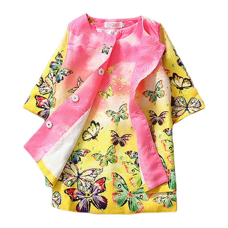 Kids Girls Clothing Sets 2016 Children Autumn Winter Dobby Kimono Tracksuit Jacket Dress Set Floral Frocks 2Pcs 3-7Yrs CS01<br>