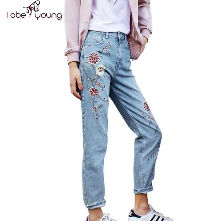 2017 New Fashion Floral Embroidery Straight Jeans Women Blue Wash Denim Slim Pencil Pants Mid Waist Trousers femme High QualityОдежда и ак�е��уары<br><br><br>Aliexpress