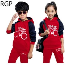 Fashion kids sport suit children clothes girls tracksuit boys sportswear wear teen outfits hooded sweatshirts + pants 2pcs/set