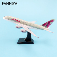 20cm Metal Airplane Model Air QATAR Airlines A380 Airbus 380 Airways Plane Model W Stand Aircraft Gift