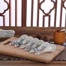Best Seller Dinnerware in Porcelain Tablespoon Ceramic Long Handled Spoons Kitchenware Various Pattern Japanese Style Soup Spoon