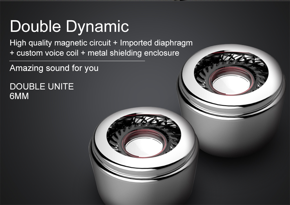 FANBIYA Earphone with Mic Dual Driver Speakers Super Bass Metal in Ear Sport Headphone Monitor Double Circle Headset Earbuds
