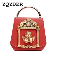Metal Tote Bag Baroque Angel Women Small Handbags Luxury PU leather Shoulder Bags Vintage Chains Messenger Bag Ladies Sac A Main(China)