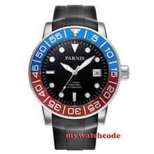 42mm Parnis black dial Sapphire glass 21 jewel Miyota automatic mens watch P393(China)