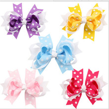 2016 Infant Baby Girls Polka Dots Bow Barrettes Little Baby Girl Princess Hair Clip Childrens hair accessories(China)