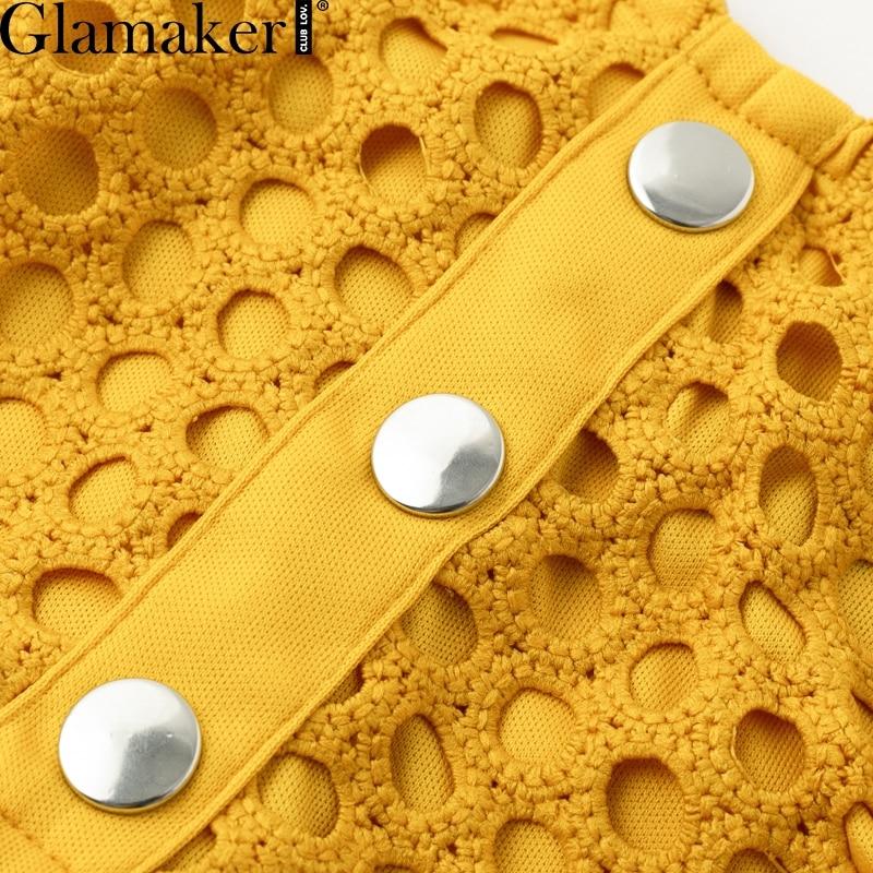 Glamaker Hollow out sexy yellow long dress Women lace ruffle button sundress Bodycon summer party dress night vestidos de festa 6