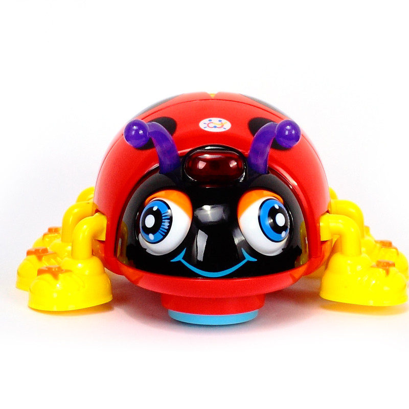 Cartoon Electric Ladybug Bee Baby Learning To Crawl Educational Toy With Music Light Infant ladybug beetle baby toys educational(China)