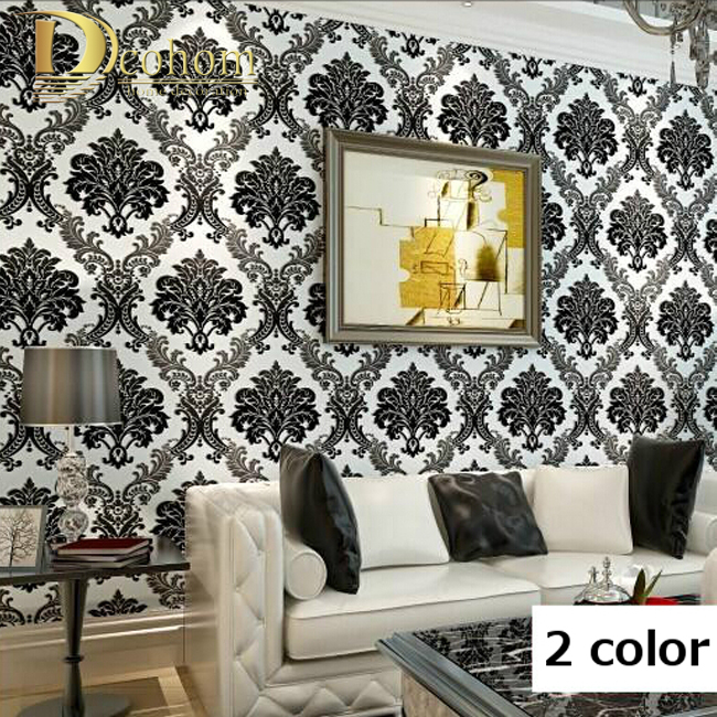 Modern High Quality Vintage European Damask Wallpaper Rolls Design Flocking Textured Luxury Wall paper for background Wall R362<br>