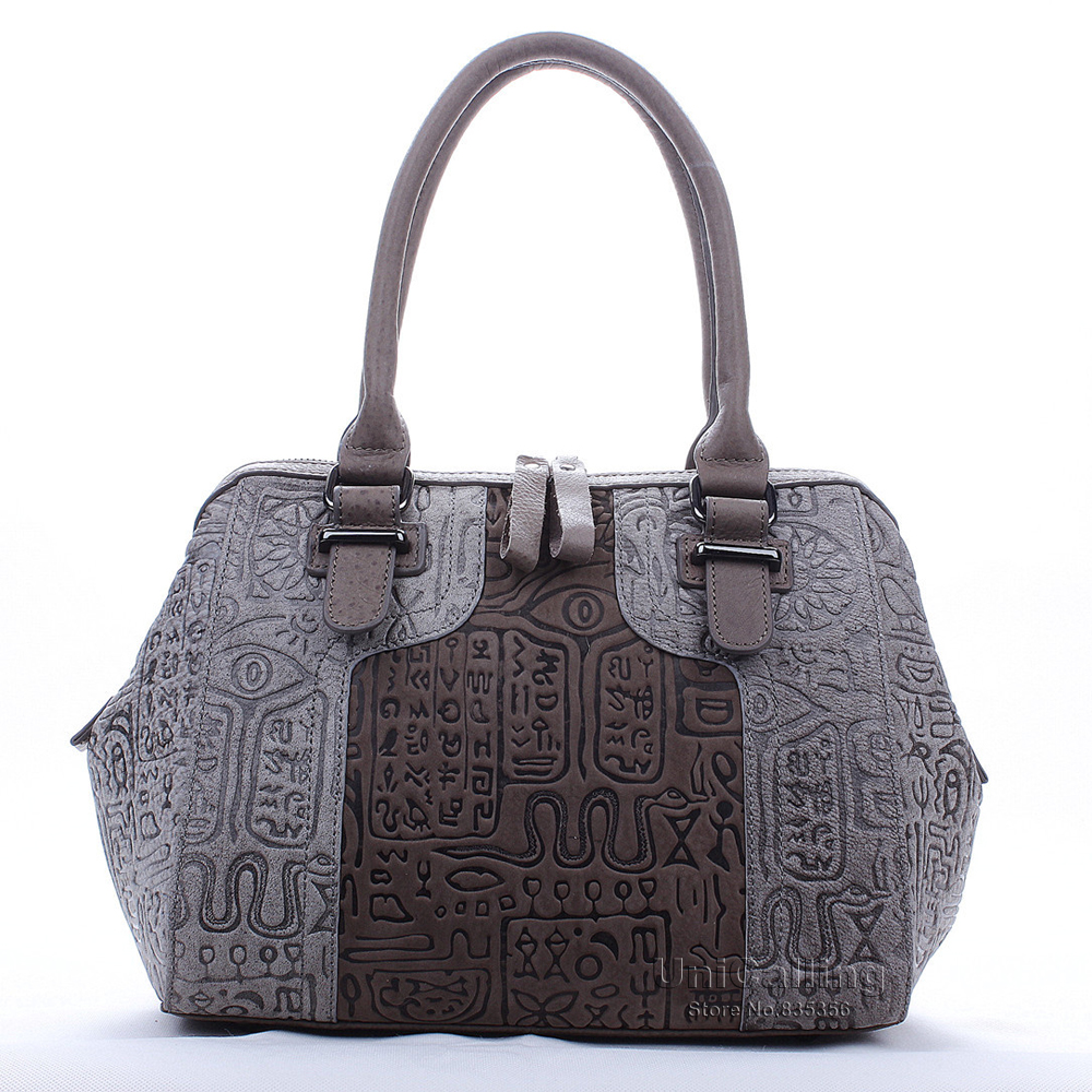 Luxury leather women tote bag fashion brand vintage ancient hieroglyphic embossing women genuine leather handbag fashion handbag<br><br>Aliexpress