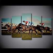 5 Pcs/Set Framed HD Printed Horse Racing Rider Sports Canvas Art Painting Poster Picture For Room Wall Decorativo