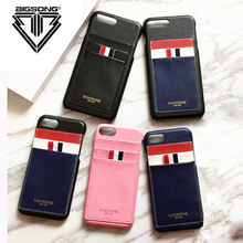 BINGSONG Korea Fashion Stripe TB Leather Case For iPhone 7 7 Plus 6 6 Plus Thom Browne New York Phone Case