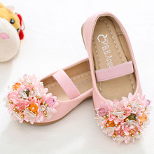 MSMAX Girls Dress Shoes Children Leather Flat Breathable Cow Muscle Flowers Single Shoes Princess Kids Ladies Wedding Shoes