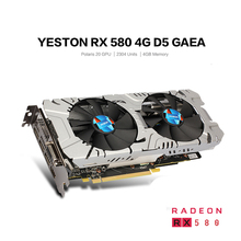 Original Yeston RX580 GPU 4GB DDR5 256bit 14nm Chip Process 6&8 Pin Graphics Card Triple Fans 7000MHz Two Fans Support DVI/HDMI