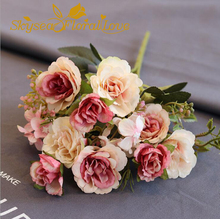 Real touch 10 heads peony flower bouquet plastic silk flowers decoration home table wedding supplies vase flower arrangement(China)