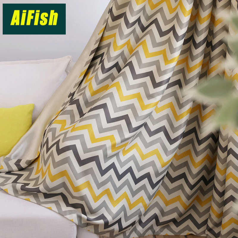 Yellow Striped Blackout Curtains for Living Room Bedroom Room Darkening Curtain Drape Window Sheer Voile Tulle Kids Room WP2753