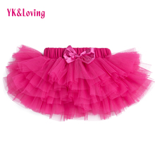 Pettiskirt Baby Girls 3 Colors Tutu Skirt Rose Red Newborn Chiffon 6 layer Skirts Infant Girls Birthday Party Clothes(China)