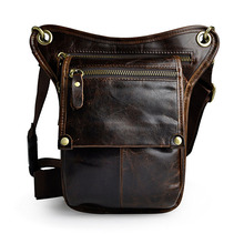 Fashion Style Genuine Leather Belt Bag Men's Waist Bag Leg Pouch Pack Mobile Phone Camera Organize Multi-function Casual Bags(China)