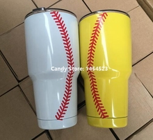 100pcs Monogram 30OZ Cups Summer Sports Softball Baseball Pattern Tumblers Travel Car Camping Drink Bottles Party Banquet Gifts