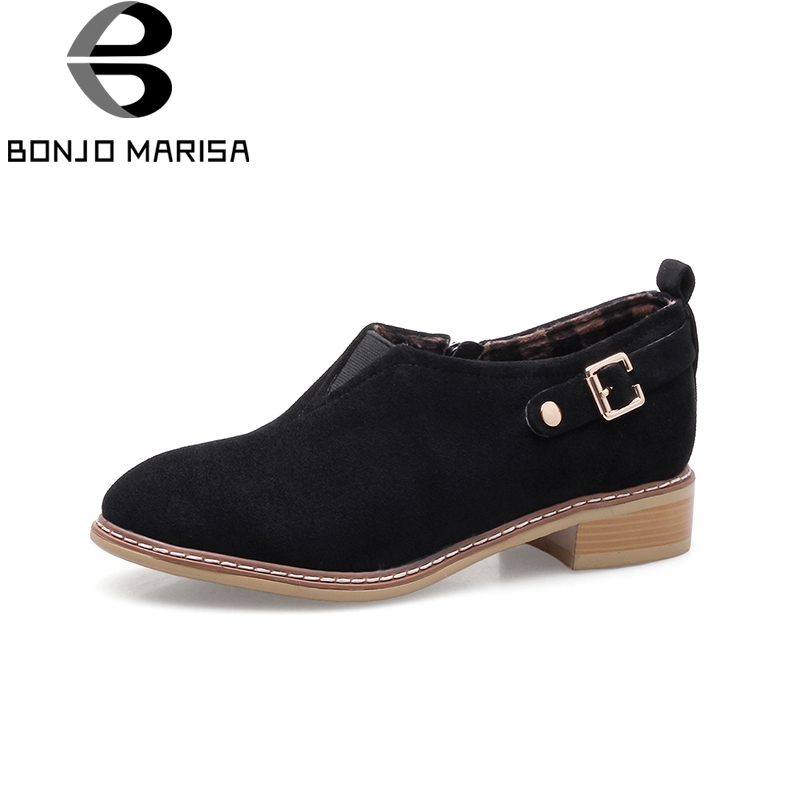 BONJOMARISA Wholesale Big Sizes 33-43 2018 Fashion Square Heels Bootie Women Shoes Woman Casual Ankle Boots Black<br>