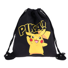 Who Cares Trendy 3D Printing Pokemon Backpack women Mochila Escolar Game Men's Backpack for Teenagers Drawstring Bags Necesser
