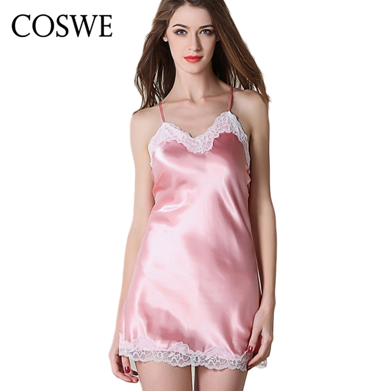 COSWE XXL Gown Lace Nightgowns Ladies Nightshirts Deep V Sexy Lingerie Women Nightwear Female Nuisette Summer Nightdress HC1602(China)
