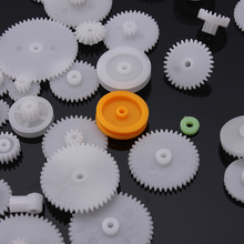 64Pcs/set ABS Plastic Shaft Single Double Layer Crown Worm Gears M0.5 For Robot DIY Toy Accessories(China)