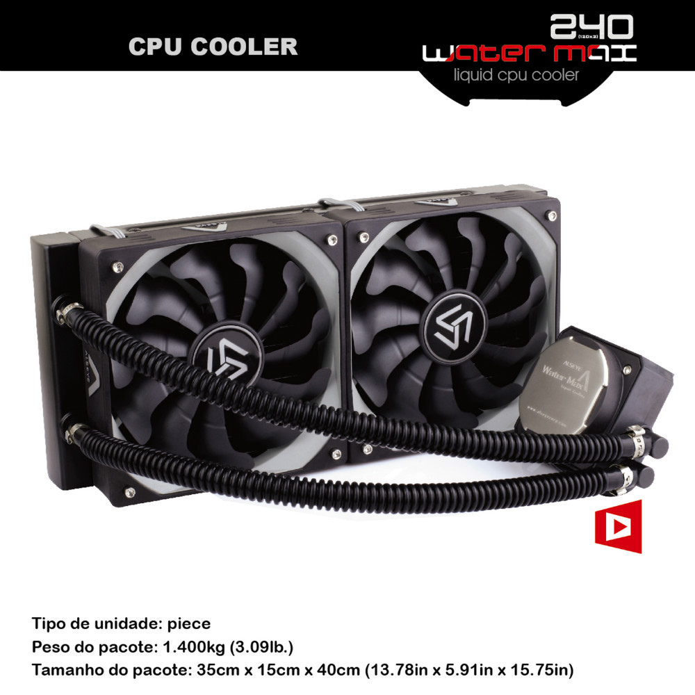 ALSEYE CPU cooler water cooling radiator TDP 320W cooler for e5450 / i7 6400t / AM4, 2 piece PWM 120mm cooling fan for computer(China)