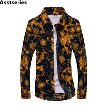 New Spring Men Casual Shirts Fashion Long Sleeve Brand Printed Button-Up Formal Business Polka Dot Floral Men Dress Shirt(China)