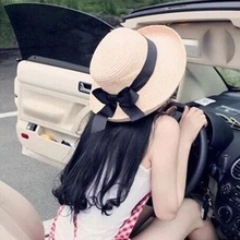 1Pcs Summer New Women's Sun Hat Black Bowknot Ribbon Flanging Straw Hat Beach Caps Head Circumference 56-58 cm 3 Colors 6113(China)