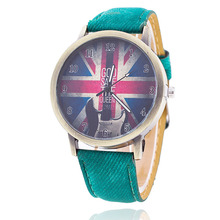 Vintage Jeans Strap Guita Watch for Women Leather UK Flags Watch Fashion Casual Wrist Watch Relogio Feminino Drop Shipping 815