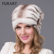 2016 Real mink fur hats imported whole mink fur hat luxury female high-end cap natural fur hats lady's winter warm cap DHY-60A(China)