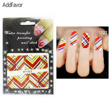 AddFavor 4PCS Nail Art Sticker Diagonal Twill Pattern Gel Designs Decoration Nail Print Paste Manicure Makeup Tools Nail Foil(China)