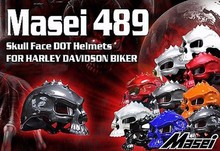 (1pc&11colors) DOT Approval Masei CG489 Brand Motorbike Half Face Skull Helmet Motorcycle Helmets Capacetes Casco Retro Casque(China)