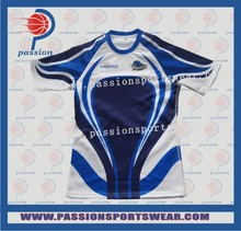 Navy Royal Blue White Crew Neck Slim Fix Rugby Shirts with Sublimated Logos