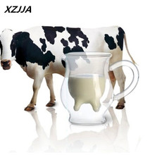 Transparency Handmade Double-layer Cow Milk Glass Cup Mug Jar Heat Resistant Home Office Milk Coffee Tea Mug Gift free shipping