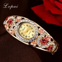 Lvpai Brand Top Selling Cheap Luxury Women Rhinestone Quartz Watch Flower Wristwatch Watch Women Fashion Electronic Watches
