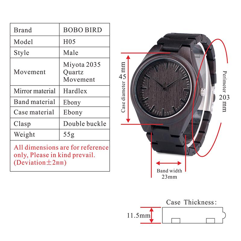 BOBO BIRD Mens Black Ebony Wooden Watches Wood Links Causal Quartz Wrist Watch in Gift Box custom logo 1