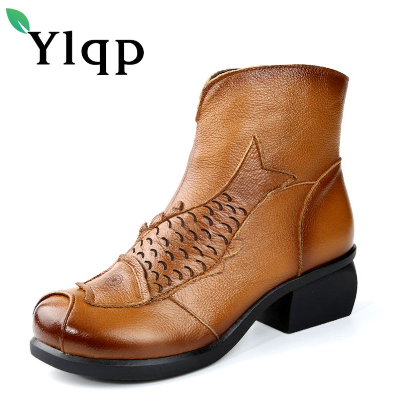 2018 Spring and Autumn Genuine Leather Martin Boots Medium Shoes Womens Fashion Round Toe Sapato Feminino Large Size Party Shoe<br>