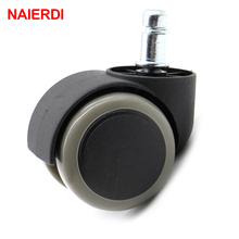 "5PCS NAIERDI Gray 50KG Universal Mute Wheel 2"" Replacement Office Chair Swivel Casters Rubber Rollers Wheels Furniture Hardware(China)"
