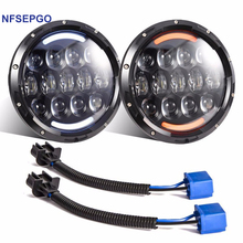 NFSEPGO 105W 7 inch Car Led Headlight 4x4 Off road Led H4 Hi/Lo Beam led Auto Headlight Kit for Jeep Wrangler JK CJ Motorcycle