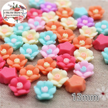 50pcs 13mm Mixed light Color flower resin flatback cabochon DIY jewelry/phone decoration No Hole DIY craft(China)