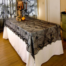240x120cm Halloween Lace Table Cloth Cover Spider Pattern Tablecloth For Halloweens Table Atmospheres Decorative Accessories
