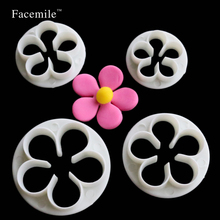 Gift Lovely 4pcs Plum Flower Cake Cutter Fondant Mold Cake Jelly Cookie Sugar Decoration Wedding Cake Decorating DIY Tools 01066